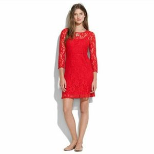 NWOT Red Lace Madewell Dress